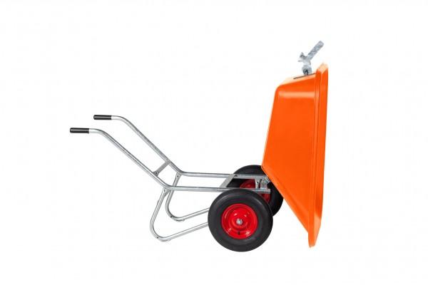 Kippkarre Zweiradkarre PE 215-2K, Kunststoffwanne orange