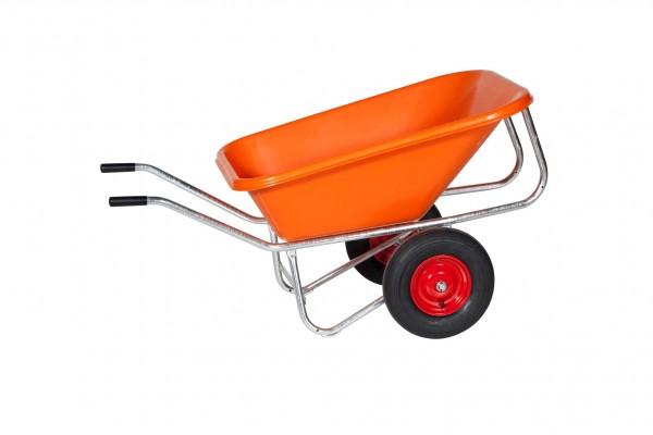 Zweiradkarre Schubkarre PE 215-2 Kunststoffwanne orange